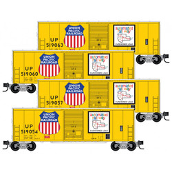 Micro Trains Line 993 00 172 - 40' Standard Single Door Box Cars - Union Pacific UP 4 Car Runner Pack