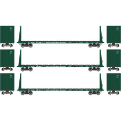 Athearn RTR HO ATH90536 60' Bulkhead Flat British Colombia Railway 3-Pack BCOL #864138, 864264, 865121
