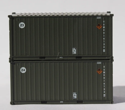 Jacksonville Terminal Company N 205450 20' Standard Height containers USMU 'B', MILITARY SERIES 2 pack