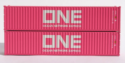 Jacksonville Terminal Company N 405333 40' Standard Height 8'6 Corrugated Side Containers OCEAN NETWORK EXPRESS - ONE Magenta Set #3 - 2-Pack