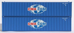 Jacksonville Terminal Company N 405305 40' Standard Height 8'6 Corrugated Side Containers CMA CGM GLOBE LOGO - 2-Pack