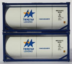 Jacksonville Terminal Company N 205206 20' Standard Tank Container with Half Length Three Quarter Walkway TWINSTAR 2-Pack