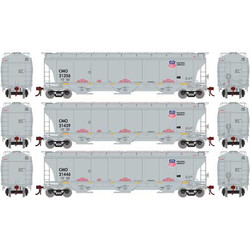 Athearn Genesis HO ATHG89969 Trinity Covered Hopper Car Union Pacific 'Building America' CMO 3-Pack Set #2