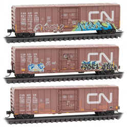 Micro Trains Line N 993 05 790 50' Ribside Boxcar without Roofwalk Weathered and Graffiti Canadian National 3-pack