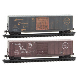 Micro Trains Line N 993 05 810 50' Single Door Boxcar Atlantic Coast Line Weathered ACL #35627 & #38690 – 2 pack