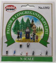 Model Power N 1352 Pastor & Congregants with Pulpit - 9 Pcs