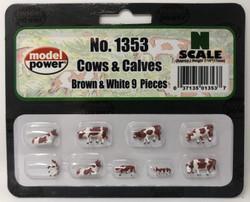 Model Power N 1353 Cows & Calves Brown & White - 9 Pcs