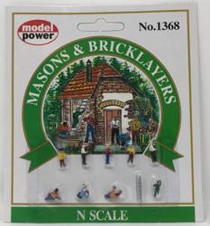 Model Power N 1368 Masons & Bricklayers - 9 Pcs