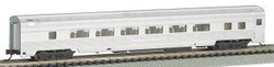 Bachmann Silver Series N 14754 85' Streamline Fluted Coach with Lighted Interior Unlettered Aluminum