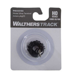 WalthersTrack HO 948-83103 Nickel-Silver Terminal Rail Joiners for Code 83 or Code 100 Track - 2 Pkg
