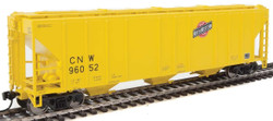 Walthers Mainline HO 910-7459 50' Pullman-Standard PS-2 CD 4427 3-Bay Covered Hopper Chicago & North Western CNW #96052