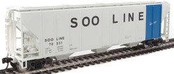 Walthers Mainline HO 910-7476 50' Pullman-Standard PS-2 CD 4427 3-Bay Covered Hopper Soo Line 'Colormark' #70231