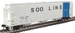 Walthers Mainline HO 910-7477 50' Pullman-Standard PS-2 CD 4427 3-Bay Covered Hopper Soo Line 'Colormark' #70233