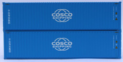Jacksonville Terminal Company N 405015 40' High Cube Corrugated Side Containers COSCO SHIPPING 'New Globe logo' - 2 pack