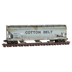 Micro Trains Line N 094 44 670 - 3-bay Covered Hopper Weathered and Graffiti Cotton Belt 'Ootten Beet' SSW #73540