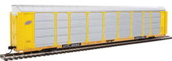 WalthersProto HO 920-101420 Thrall 89' Tri-Level Enclosed Auto Carrier Chicago and North Western CNW Rack - ETTX Flat #701647