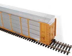 WalthersProto HO 920-101421 Thrall 89' Tri-Level Enclosed Auto Carrier CSX Rack #T9046 - ETTX Flat #710155