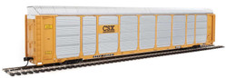 WalthersProto HO 920-101423 Thrall 89' Tri-Level Enclosed Auto Carrier CSX Rack #T8768 - ETTX Flat #710231