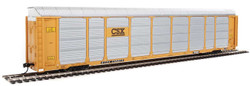 WalthersProto HO 920-101424 Thrall 89' Tri-Level Enclosed Auto Carrier CSX Rack #T8782 - ETTX Flat #710273