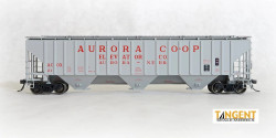 Tangent Scale Models HO 20036-01 Pullman-Standard PS-2CD 4750 Covered Hopper Aurora Co-op Elevator Company 'Aurora NE Co-op 1973' ACOX #13