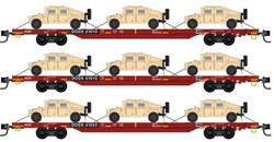 Micro Trains Line N 993 01 621 Flat Car Set with Humvee DODX 3-pack