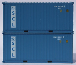Jacksonville Terminal Company N 205326 20' Standard Height Corrugated Side Containers Safmarine and CMBT Lines Faded SCMU 2-Pack