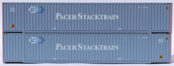 Jacksonville Terminal Company N 535022 53' High Cube Corrugated Side Containers PACER Faded Light Blue 2-Pack