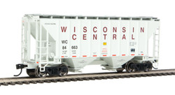 Walthers Mainline HO 910-7970 37' 2980 2-Bay Covered Hopper Wisconsin Central WC #84663