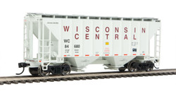 Walthers Mainline HO 910-7972 37' 2980 2-Bay Covered Hopper Wisconsin Central WC #84680
