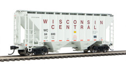 Walthers Mainline HO 910-7973 37' 2980 2-Bay Covered Hopper Wisconsin Central WC #84699