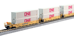 Kato N 106-6196 Gunderson MAXI-l Double Stack 5 Unit Well Car Set TTX 'New Logo' DTTX #759324 with 10 'Gray' ONE 40' Containers