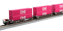 Kato N 106-6194 Gunderson MAXI-l Double Stack 5 Unit Well Car Set BNSF 'Swoosh' BNSF #238615 with 10 'Magenta' ONE 40' Containers