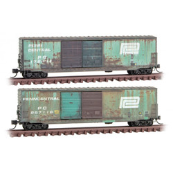Micro Trains Line 993 05 840 50' Double Door Box Car Set Weathered Penn Central PC 2 - Pack