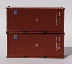 Jacksonville Terminal Company N 205325 20' Standard Height Container FLORENS with 'Hazard Stickers' FBIU 2-Pack