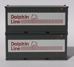 Jacksonville Terminal Company N 205435 20' Standard Height Container DOLPHIN LINE 2-Pack