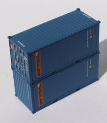 Jacksonville Terminal Company N 205384 20' Standard Height Container RAFFLES RFCU 2-Pack