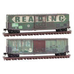 Micro Trains Line 993 05 860 50' Standard Single 10' Door w/o Roofwalk Box Cars - Weathered - Conrail/ ex-Reading - 2 Pack