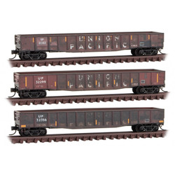 Micro Trains Line 993 05 890 Weathered - 50' Steel 14 Panel Fishbelly Sides Gondola - Union Pacific 3 Pack