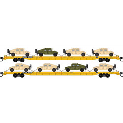 Micro Trains Line N 993 02 180 Flat Car Set 'DODX' with 8 Humvee Vehicles 2-pack