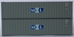 Jacksonville Terminal Company N 405051 40' High Cube Corrugated Side Containers MOL 'Gray Initial Logo' MOTU 2-pack