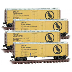 Micro Trains Line N 993 00 179 - 40' Steel Ice Reefer Great Northern 'Western Fruit Express' WFEX 4 - Pack