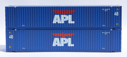 Jacksonville Terminal Company N 485019 48' High Cube 3-42-3 Corrugated Container APL 'Large Logo' Set #3  2-Pack
