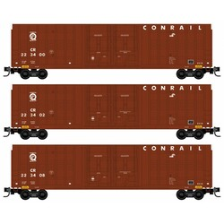 Micro Trains Line N 993 00 181 60' Waffle Side Double Plug Door Excess Height Box Car Set Conrail CR 3-Pack