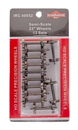 "Intermountain HO 40052 Semi-Scale 33"" Wheels 12 Sets"
