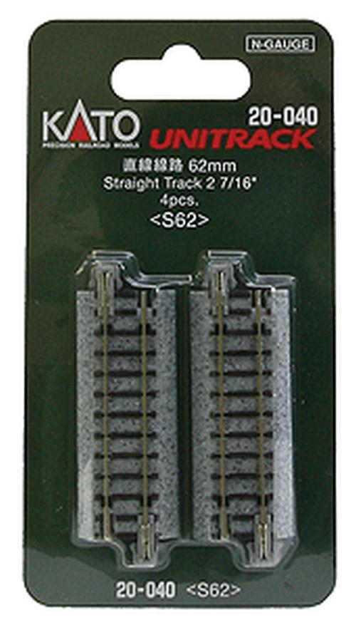 "Kato N 20-040 Unitrack Straight Track 62mm 2 7/16"" 4 pieces"