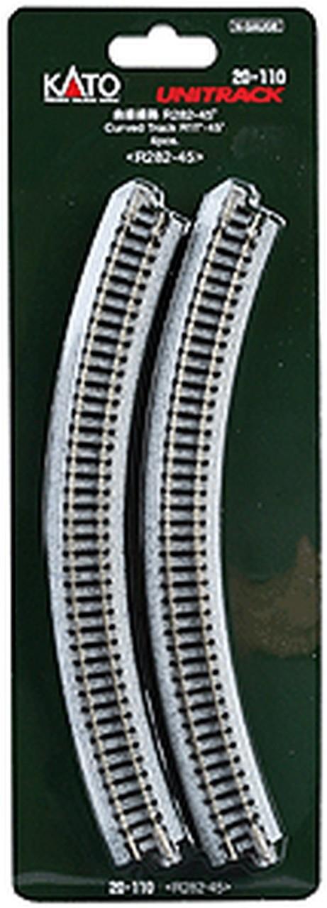 "Kato N 20-110 Unitrack Curved Track 'R282-45' Radius 11""- 45 degree 4 pcs"