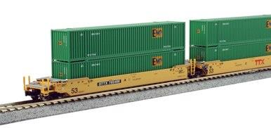 Kato N 106-6174 Gunderson MAXI-lV Double Stack 3 Unit Well Cars New Logo TTX #765496 includes 6 x EMP ribbed 53' Containers