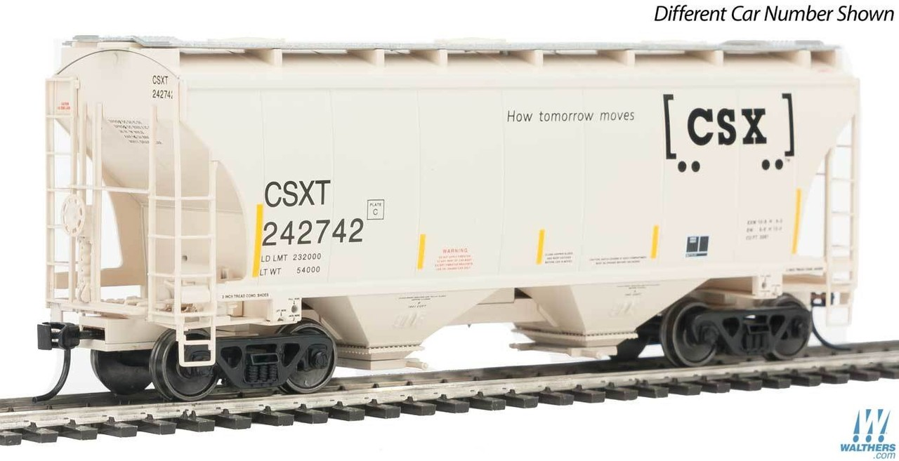 Walthers Mainline HO 910-7516 39' Trinity 3281 2-Bay Covered Hopper - Ready to Run - CSX - CSXT #243003