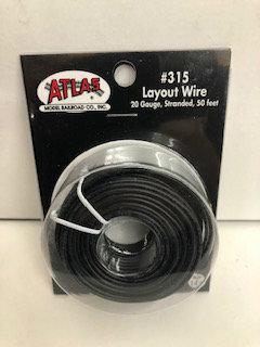 Atlas N/HO #315 Layout Wire 20 Gauge Stranded 50 feet Black