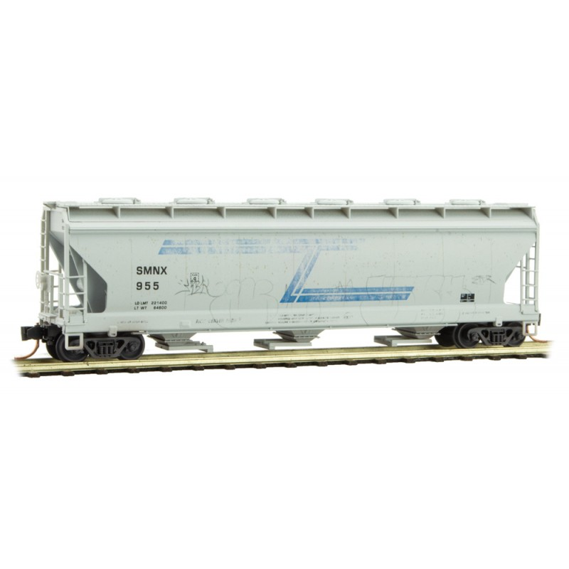 Micro Trains Line 093 44 090 3-Bay Covered Hopper with Round Hatches Weathered Solvay Minerals SMNX #955